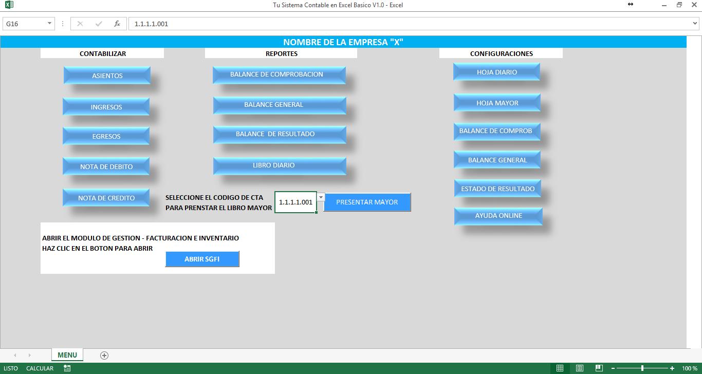 Sistema Contable en Excel V 1.0