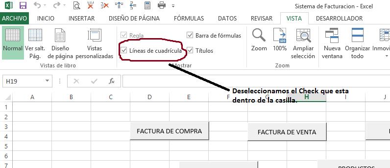 Sistema de Inventarios - Deseleccionando Lineas de Cuadricula