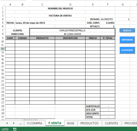 facturas en blanco