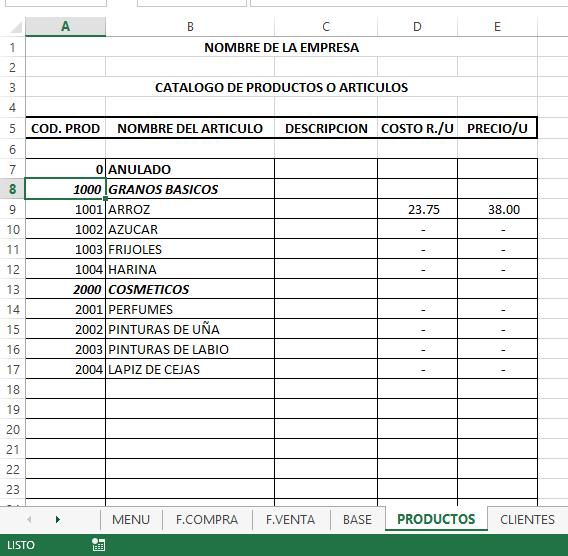 Sistema de Gestion – Facturacion e inventario en Excel 15