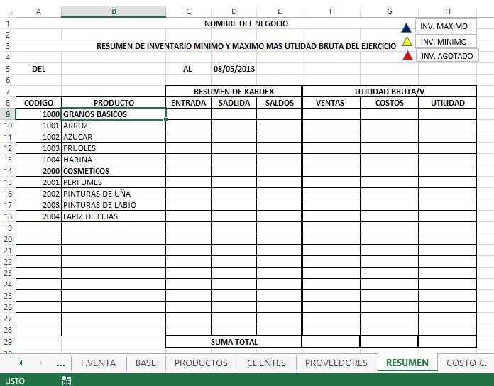 Sistema de Inventarios - Hoja Resumen - Blog - Aplica Excel Contable