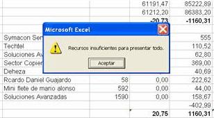 Recursos Insuficientes en Excel