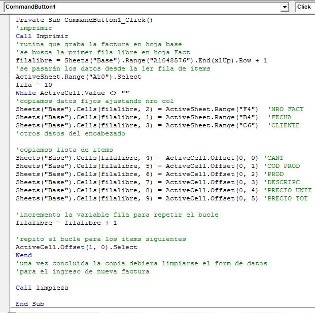 Codigos de Programacion del Boton Imprimir y Guardar