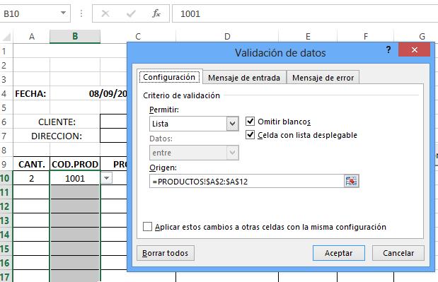 Validando la Columna Codigos en la Hoja Excel Factura