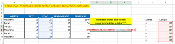 Aplicando la Formula Excel PROMEDIO.SI.CONJUNTO