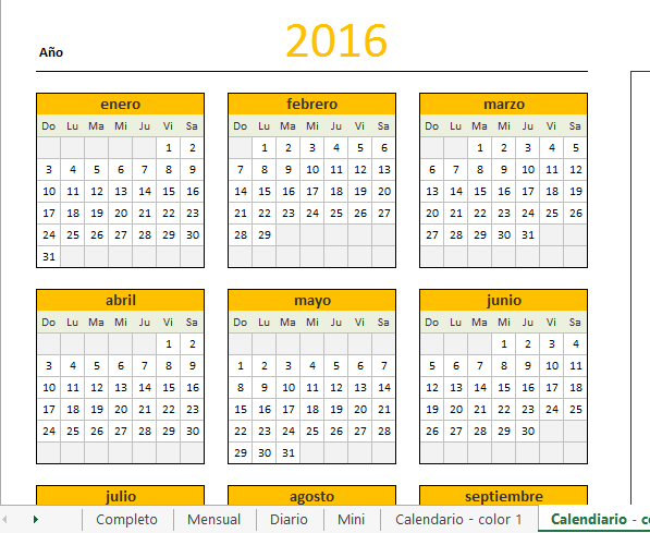 2016 En Excel Related Keywords & Suggestions - Calendario 2016 ...