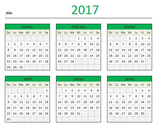 Descarga tu Calendario 2017 en Excel — Blog - Aplica Excel Contable